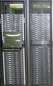 These are two of the four racks that were added to the Open Cloud Testbed as part of the Phase 2 build out.  Photograph by Michal Sabala.